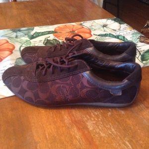 Coach 10m Lace Up Canvas Leather Shoes